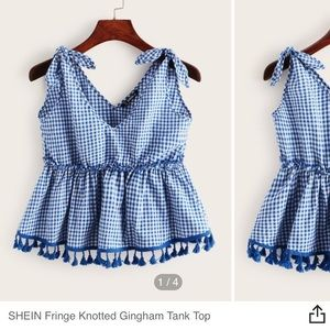 SHEIN fringe knitted gingham tank top—never worn